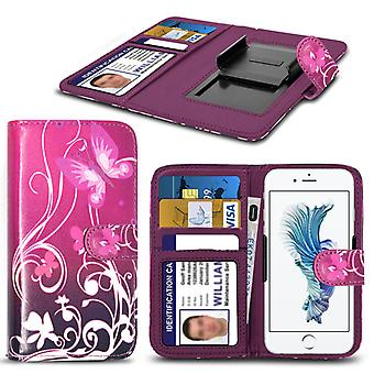 i-Tronixs® - Acer Liquid Z530S Case PU Leather Purple Butterfly Printed Design Pattern Wallet Clamp Style Spring Skin Cover- Purple Butterfly