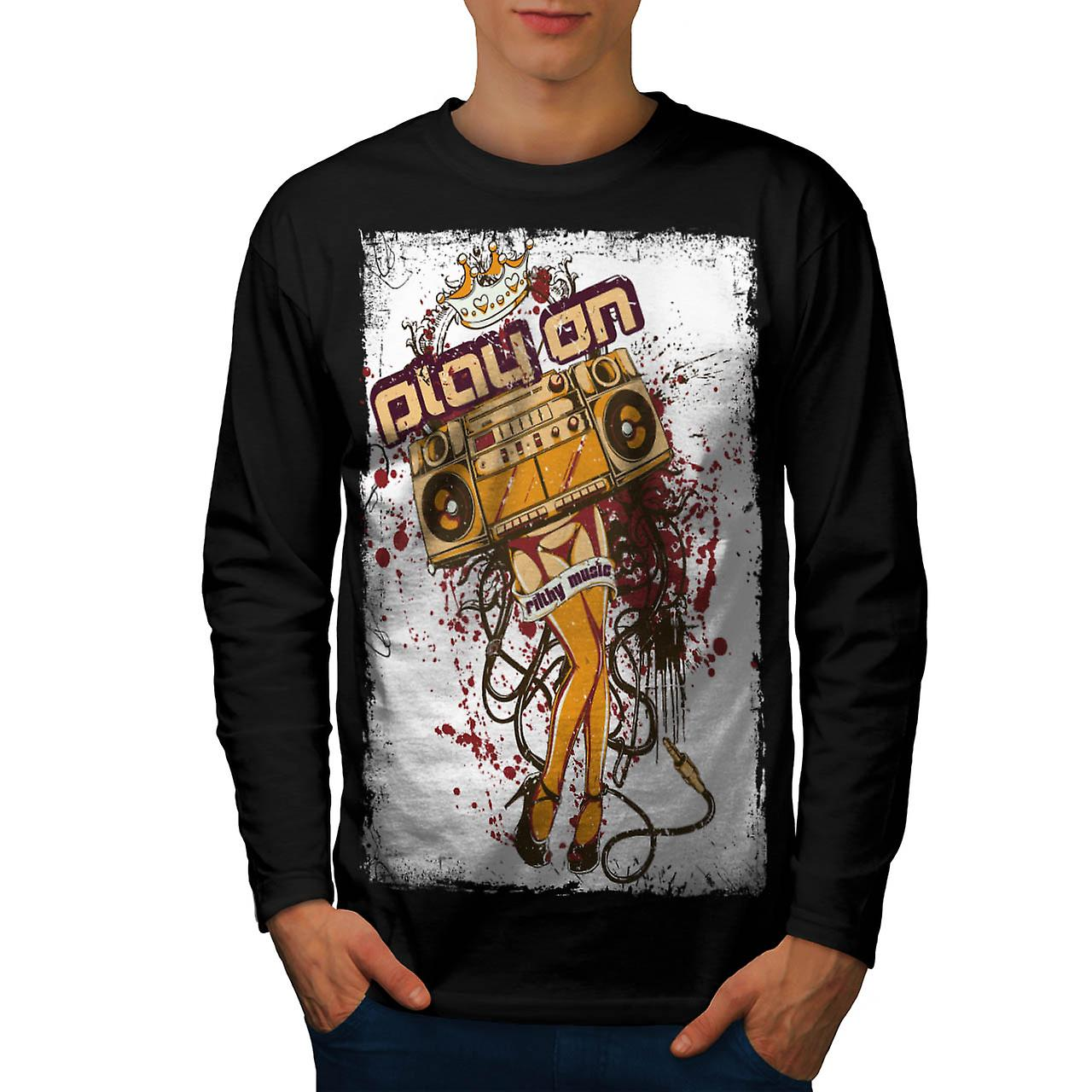 DJ Play On Music Beats Radio Love Men Black Long Sleeve T-shirt | Wellcoda