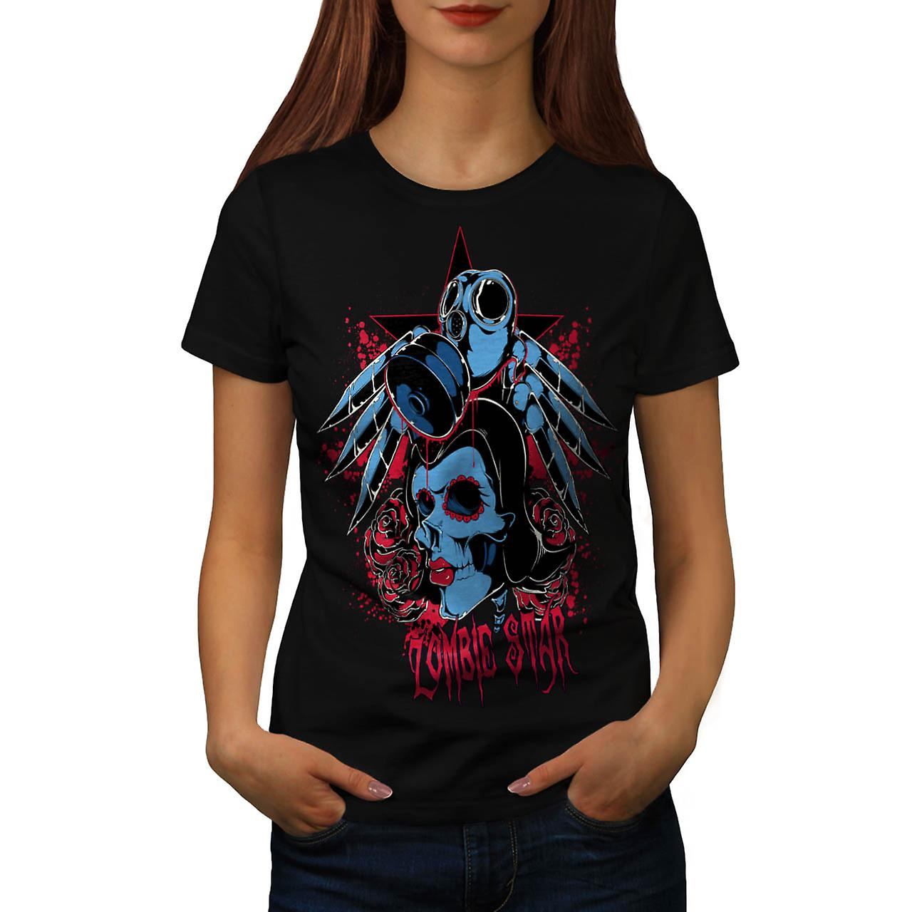 Evil Zombie Star Rise Nightmare Women Black T-shirt | Wellcoda
