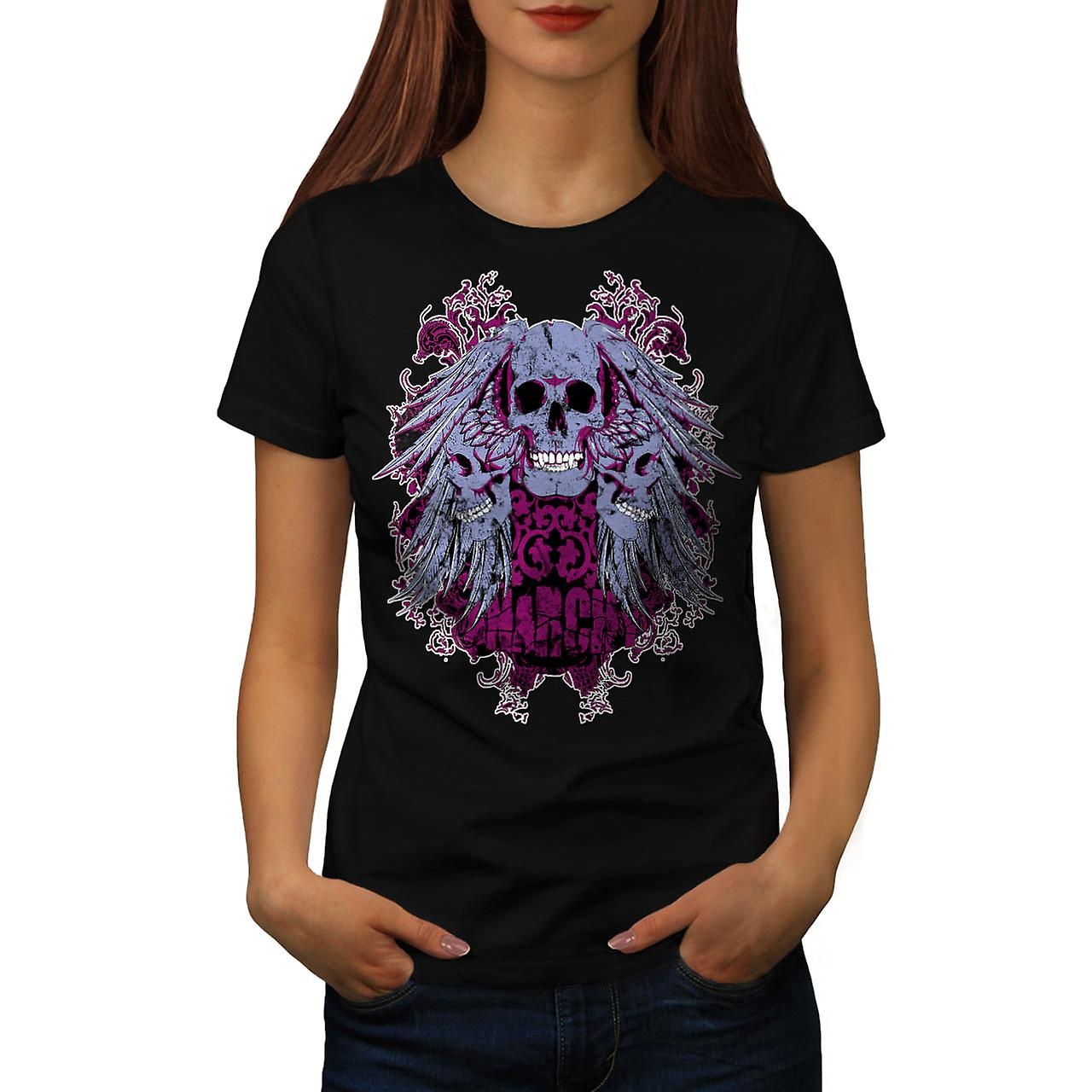 Anarchie Ghost Team crâne diable femmes T-shirt noir | Wellcoda