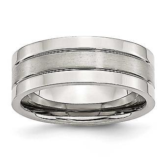 Acciaio scanalato spazzolato Engravable lucido e satinato piatto 8mm Satin lucido Band Ring - anello Dimensione: 6-13