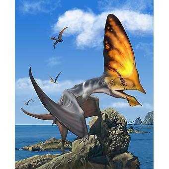 Tupandactylus encaramado en un promontorio durante el temprano Cretáceo período de Brasil cartel imprimir