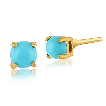 Gemondo Turquoise Round Stud Earrings In 9ct Yellow Gold 3.50mm Claw Set