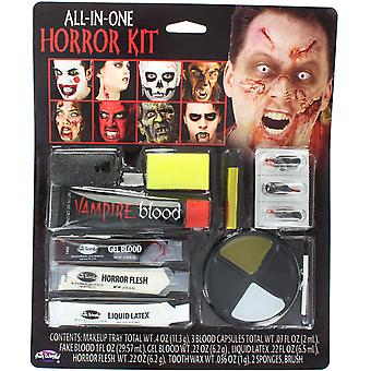 Halloween All-In-One Horror Make Up Kit with Face Paint Liquid Latex Fake Blood