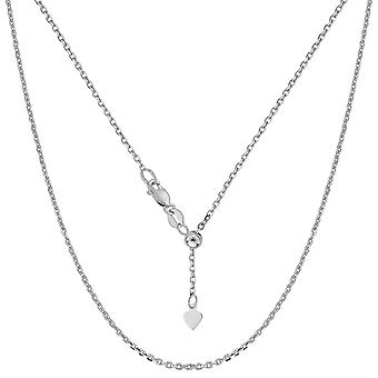 14k White Gold Adjustable Cable Link Chain Necklace, 0.9mm, 22