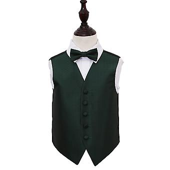 Boy's Dark Green Greek Key Patterned Wedding Waistcoat & Bow Tie Set