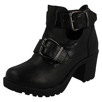 Girls Red Tag Buckle Strap Block Heel Ankle Boots