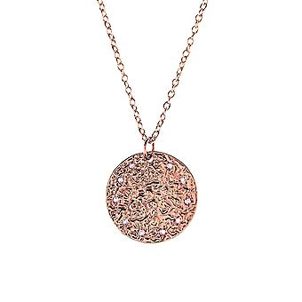 Latelita Sterling Silver Pendant Moon Disc Round White Topaz Necklace Rose Gold