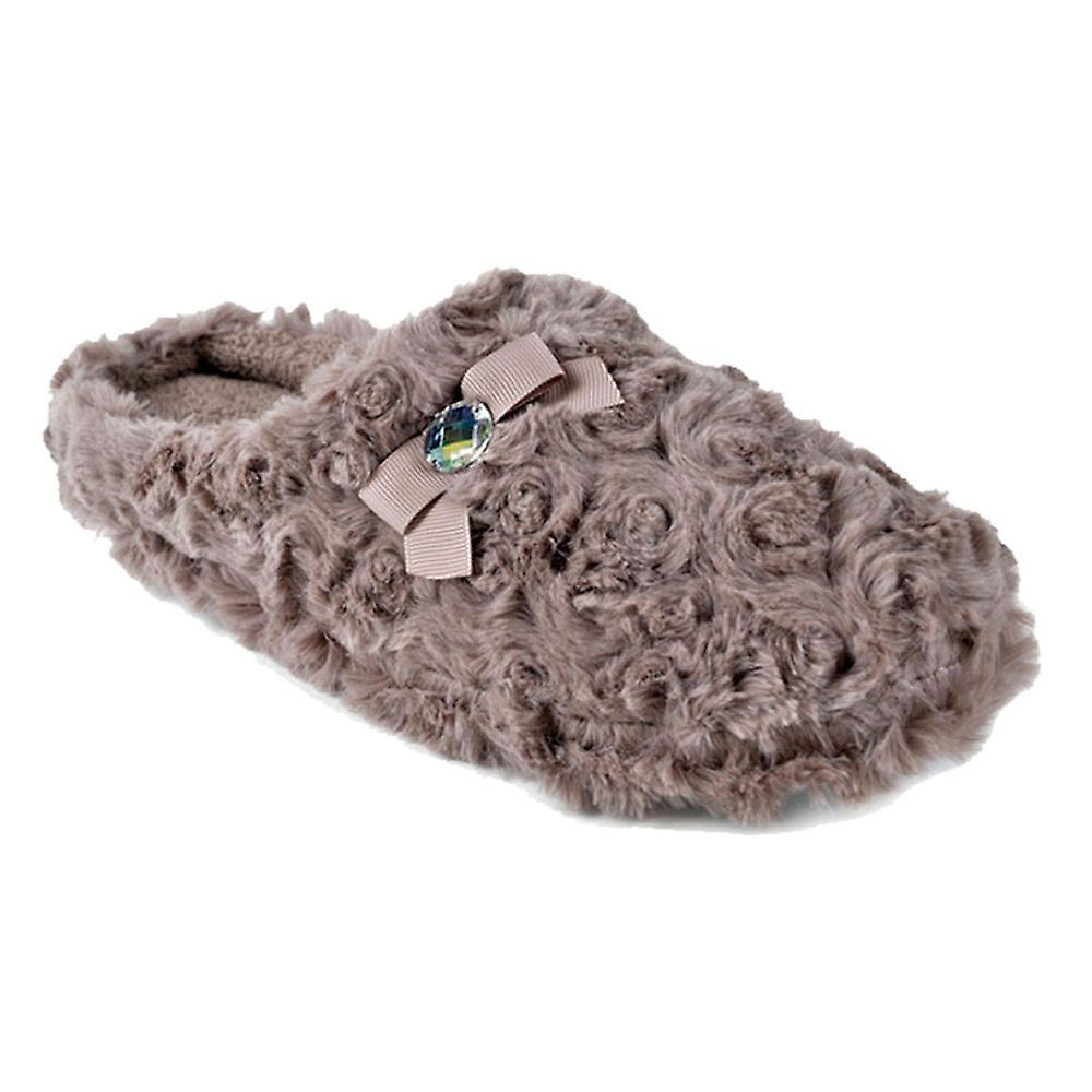 SlumberzzZ Womens Faux Fur Swirl Design Mule Slippers