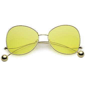 Women's Metal Butterfly Sunglasses Thin Curved Arms Ball Accent Color Tinted Flat Lens 56mm