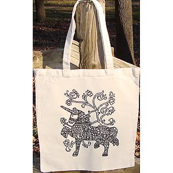 Stamped Canvas Tote To Color-Unicorn 98102T