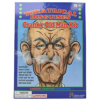 Adult Cranky Old Man Kit Grey Ear & Nose Hair Plugs Fancy Dress Accessory