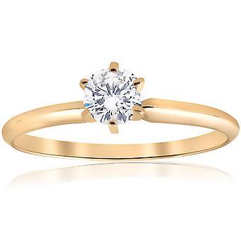 14k Gelb Gold 1 / 2ct Runde Solitär-Diamant-Verlobungsring