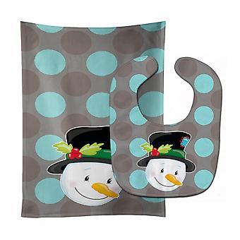 Carolines schatten BB8671STBU kerst sneeuwpop Baby Slabbetje & Burp doek