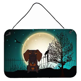 Halloween Scary Wire Haired Dachshund Chocolate Wall or Door Hanging Prints