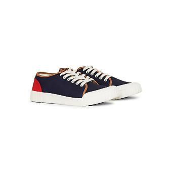 Good News Babe Tri Colour Low Plimsolls Red  Beige and Navy