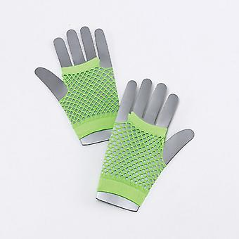 Fishnet Gloves. Short. Neon Green