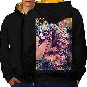 Miami Beach Palm hommes noir (capot or) contraste Hoodie dos   Wellcoda