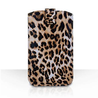 Caseflex PU Leather Auto Return Pull Tab Pouch (L) - Leopard Print