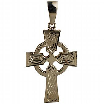 9ct Gold 35x24mm hand engraved knot pattern Celtic Cross with bail