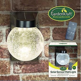 GardenKraft Solar Sensor Glass Wall Light with Remote Control