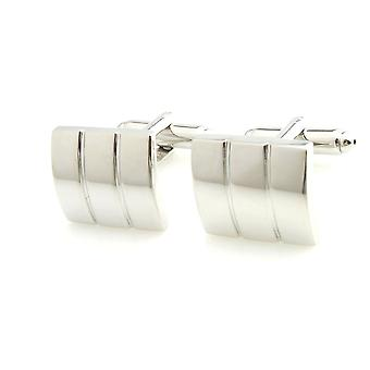 Mens Ladies Silver Tone Stainless Steel Column Style Cufflink Wedding Formal Business