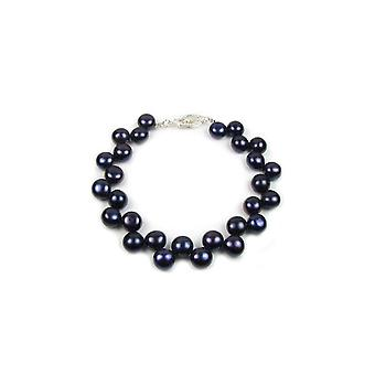 Bracelet woman pearls of water soft black and clasp in Silver 925/1000