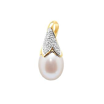 Pendant Pearl of Culture of water soft white, diamond and yellow gold 750/1000