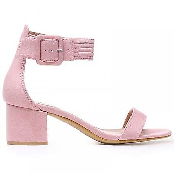 Shoe Closet Ladies FRR23 Light Pink Low Heeled Ankle Strap Peep Toes Strappy Sandals Heels