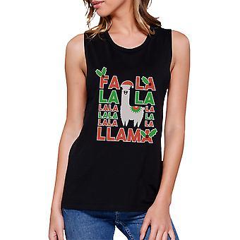 Falala Llama Womens Black Muscle T-Shirt