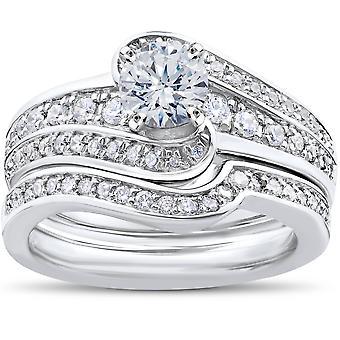 1 ct diamante redondo solitario anillo de compromiso boda banda conjunto 14k oro blanco conjunto