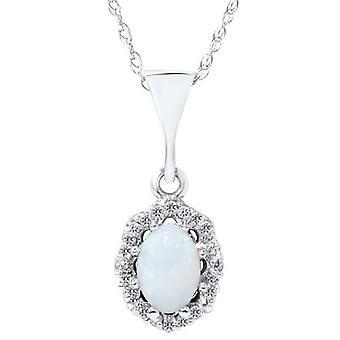 1ct Opal & Diamond Halo Pendant 14K White Gold
