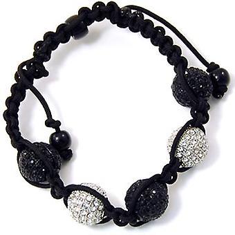 Unisex bling bracelet - DISCO BALL DOUBLE KNOT silver / bk