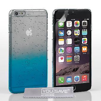 iPhone 6s Plus kropla deszczu twarde etui - Blue Clear