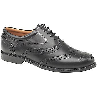Amblers Mens Liverpool Lace Leather Oxford Brogue Style Shoe Black