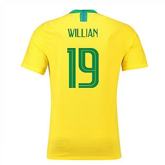 2018-2019 Brazil Home Nike Vapor Match Shirt (Willian 19)
