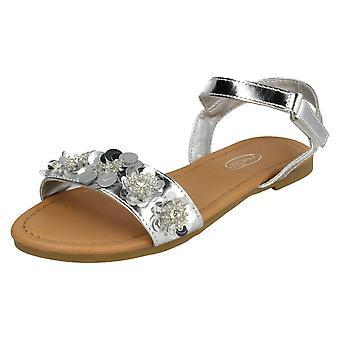 Piger Spot på paillet blomst Trim sandaler H0270 - Rose guld syntetisk - UK størrelse 13 - EU størrelse 32 - US størrelse 1