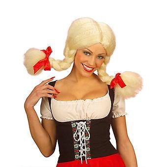 Heidi Blonde Perücke mit biegbaren Zöpfen