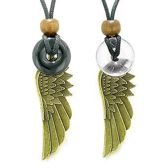 Schutzengel Flügel magische Amulette Liebe Paare Beste Freunde Achat Crystal Quarz Donut Halsketten