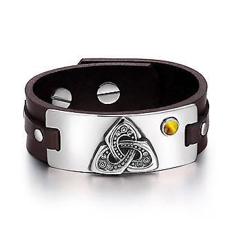Celtic Triquetra Knot Magic Powers Amulet Tiger Eye Gemstone Adjustable Dark Brown Leather Bracelet