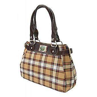 Tartan Handbag M (Stewart Camel)