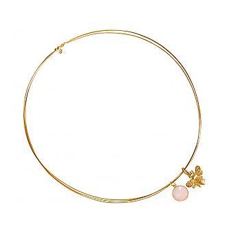 Collier - pendentif - argentique - plaqué or - bee - Quartz Rose - Rose - 45 cm