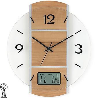 Wall clock radio digital date display case core beech / silver