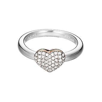 ESPRIT women's ring silver Rosé heart cubic zirconia ESRG92356B1
