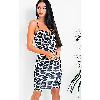 IKRUSH Womens VeeVee Leopard Print Boydcon Midi Dress