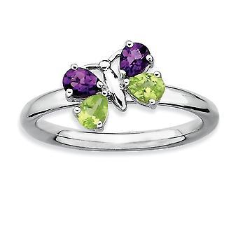 Forcone del lucido argento rodiato impilabile espressioni AM e PE farfalla anello - anello taglia: 5-10