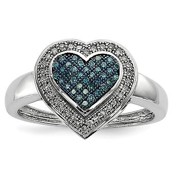 925 Sterling Silver Open back Gift Boxed Cut-out sides Rhodium-plated Blue and White Diamond Heart Ring - Ring Size: 6 t