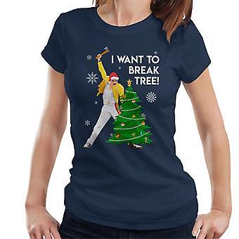 Weihnachten Freddie Mercury I Want To Break Baum Damen T-Shirt