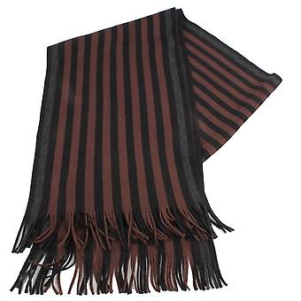 Bassin and Brown Lyttleton Stripe Scarf - Brown/Black/Grey