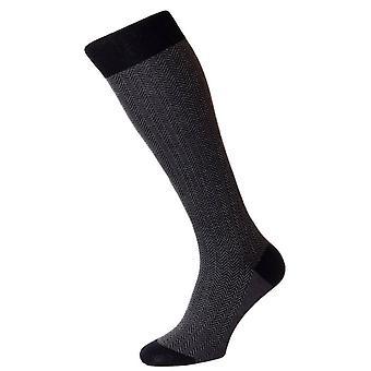Pantherella Fabian Herringbone Over the Calf Socks - Black